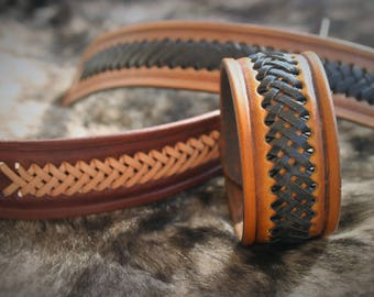 Mixed man woman leather bracelet tooled braided leather cord