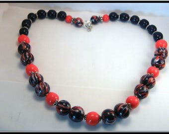 Fimo beads necklace Navy Blue and Red