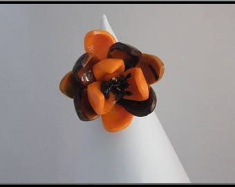 Orange polymer clay flower ring
