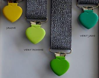 Dummy/Suspender tones yellow/green heart tie clip