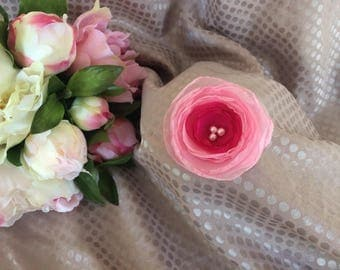 5.5 cm chiffon flower rose with pearls
