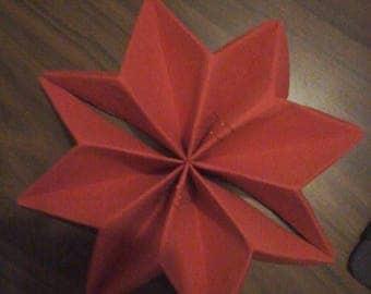 Red snowflake napkin folding