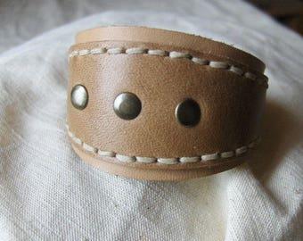 Handmade natural beige leather bracelet