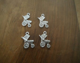 set of 4 BEAD charms - STROLLER - antique silver