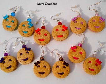 Cake earrings round smiley