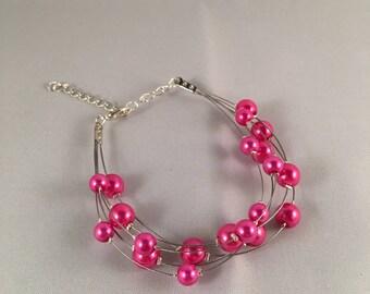 Wedding bracelet Thomas fuchsia pearl beads