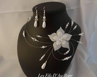 Wedding MYLLIE parure necklace & earrings in white