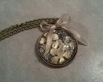 Necklace 80cm, 3cm glass cabochon