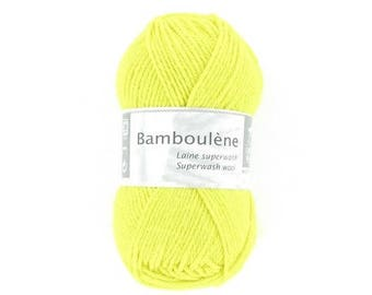 natural thread knitting BAMBOULENE yellow No. 051 white horse