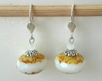White Czech glass Pearl Earrings