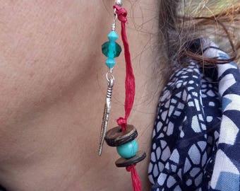 Earrings feathers raffia