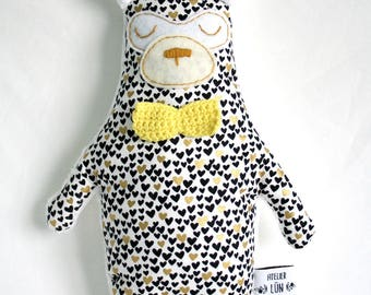 Teddy bear fleece hearts and bow - black, white and gold pattern