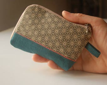 Wallet, card holder with fabric Japanese geometric pattern - Green