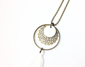 Bronze necklace - hoop bronze sequin enameled round white * white tassel