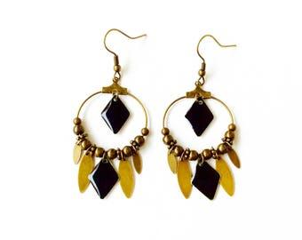 Long bronze earrings - drop and black Argyle sequins bronze