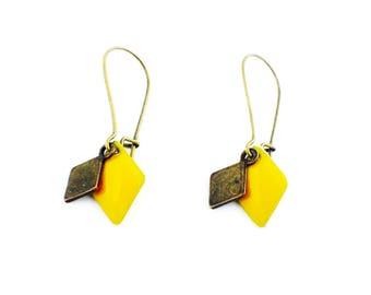 Bronze - sequins diamonds earrings yellow and bronze