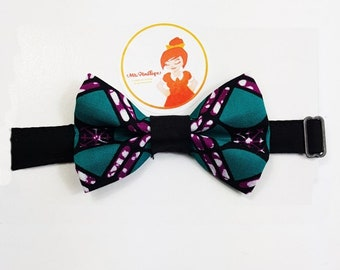 Bow tie green and purple wax
