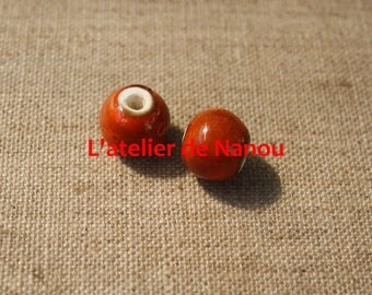 ceramic bead handmade orange 6 mm