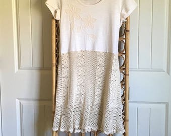 Upcycled Recycled Repurposed Boho Tunic/Dress w/ Vintage Crochet Skirt SM