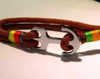 cord bracelet wax braid juxtaposes - 210 mm - customize-Brown - D35