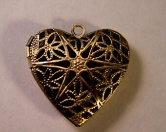 1 pendant - Locket door photo-heart-bronze 25 mm B025