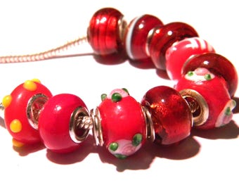 10 Pearl charms murano glass European - shades of Red - 14 x 10 mm-compatible pandora - PG278-16