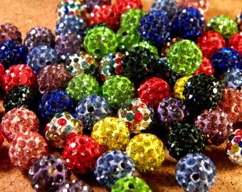 1 shamballa rhinestone 10 mm disco ball bead