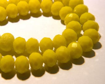 """20 beads glass pumpkin faceted - 8 x 6 mm - so - bright yellow-""""jade"""" F104"""