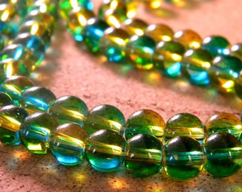 30 glass beads 6 mm - translucent 2 tones - green and yellow - blue PG303-3