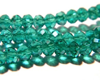 """75 glass beads - 4 x 3 mm - faceted - glass """"Crystal"""" bead abacus - emerald green - G144-8"""