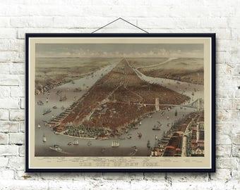 New York City 1883 Bird's Eye View Map  Fine Art Print