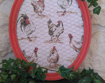 "oval frame ""hens and roosters"" weathered old"