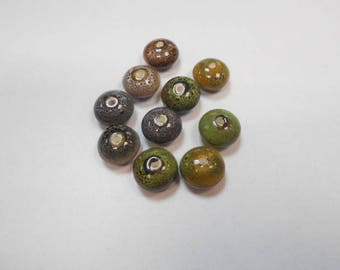 10 ceramic beads size 12 mm by 7 mm set number 1