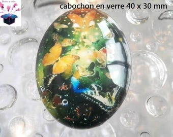 1 cabochon glass 40x30mm woman Butterfly theme