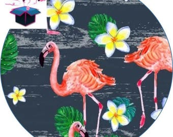 1 cabochon clear 40 mm round pink Flamingo theme