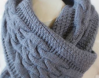 Blue jean hand knitted unisex scarf