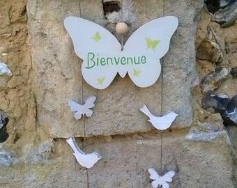 bienvenue suspension en bois papillon