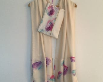 Set off white wedding shawl/pouch / beige painted fabric