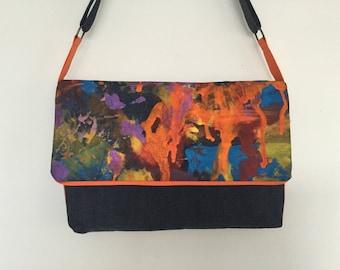 Shoulder bag blue and orange hand painted denim flap