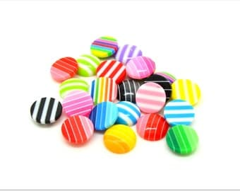 10 small round striped multicolored resin cabochons