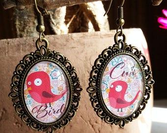cabochon glass earrings