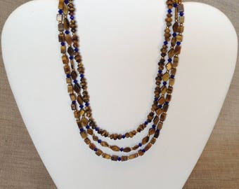 Necklace 3 rows of Tiger eye and Swarovski Crystal.