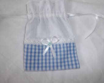 The gift bag, sweets for jewelry, babyshower, white and blue gingham