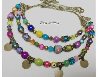 Necklace ethnic chic, colorful, glass beads, bronze, sequins.