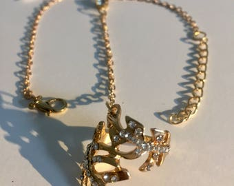Rhinestone Feather Bracelet With Ring