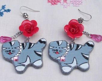 "Earrings ""cat, kitten, Roses"" beads, wood, rhinestone, Fimo, polymer, gray, pink, silver"