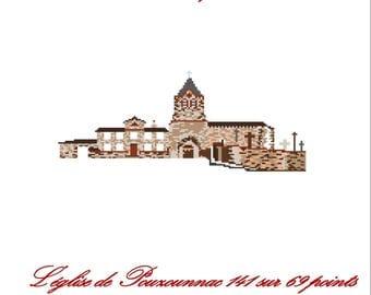 Pouzounnac Church, cross stitch card