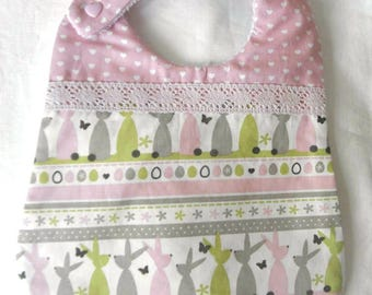 Cotton fabric bib with rabbits, hearts and sponge for babies from birth to 12 months and up