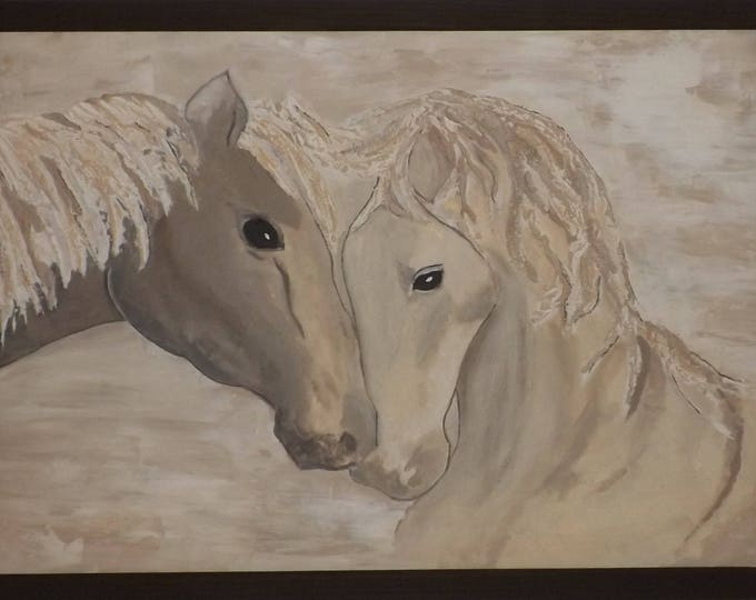 Painting horses relief, sand, beige, Brown, decoration, painting, horse, contemporary, modern signed LV, modern, gift idea, Valentine's day