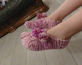 Pink child booties knitting pattern - 31/33